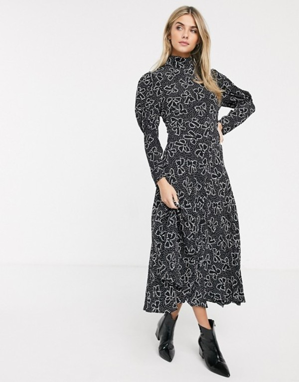 ゴースト レディース ワンピース トップス Ghost lia midi dress with puff sleeves in crepe Bow print