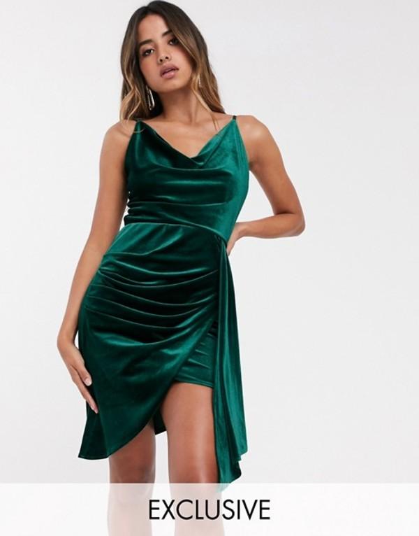 ティエフエヌシー レディース ワンピース トップス TFNC velvet mini dress with drape detail in emerald Emerald green