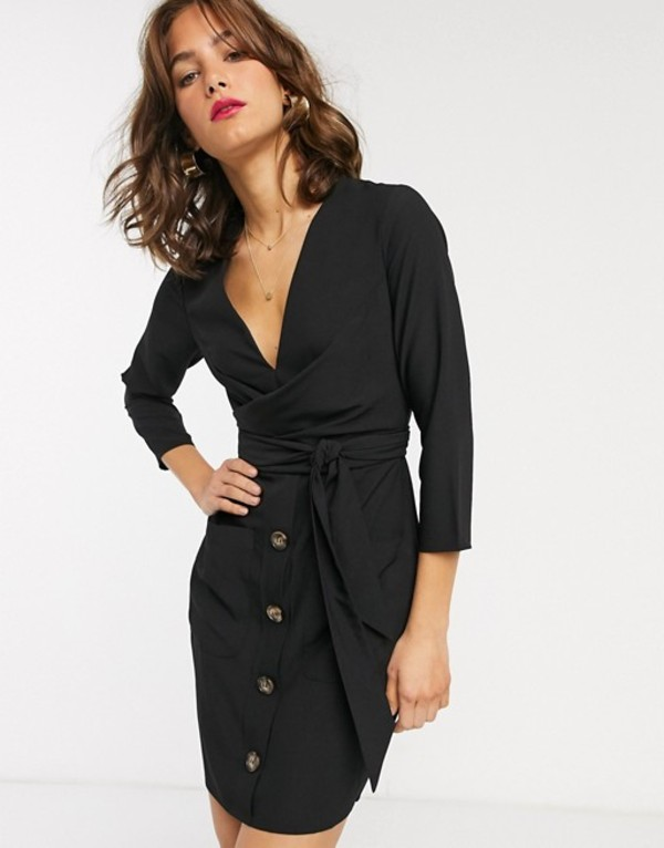 エイソス レディース ワンピース トップス ASOS DESIGN button through tie wrap around mini dress Black