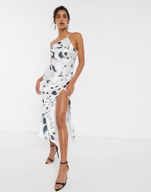 エイソス レディース ワンピース トップス ASOS DESIGN one shoulder midaxi dress in satin with drape back in mono print Mono print