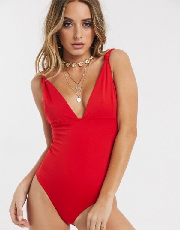 エイソス レディース 上下セット 水着 ASOS DESIGN sculpt me knot strap control swimsuit in red Red