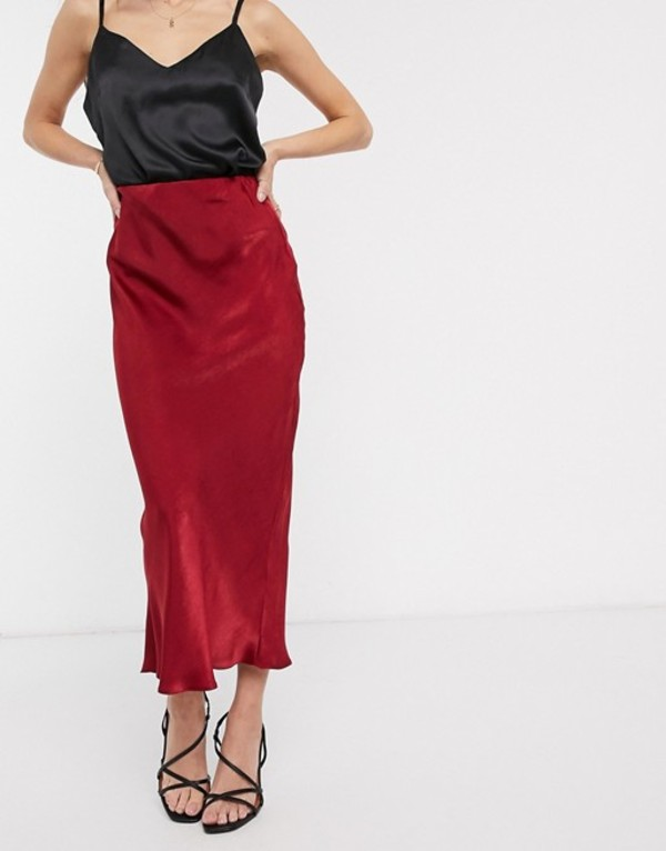 エイソス レディース スカート ボトムス ASOS DESIGN fluted bias midi skirt in satin Burgundy