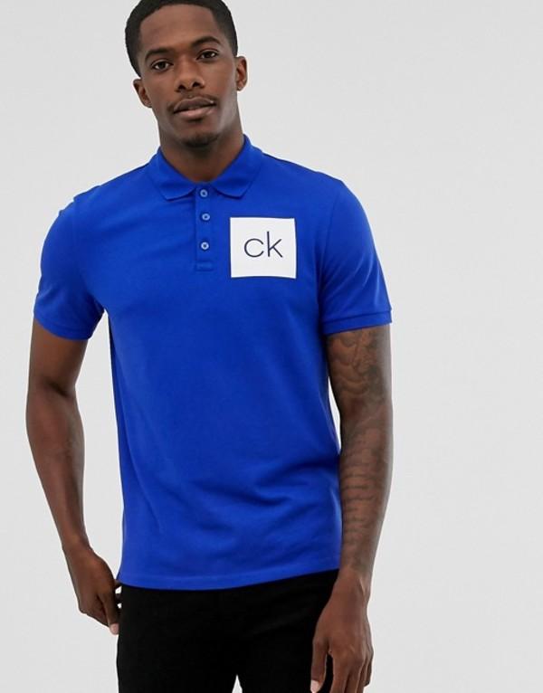 カルバンクライン メンズ ポロシャツ トップス Calvin Klein logo printed polo in navy Sky captain blu 402