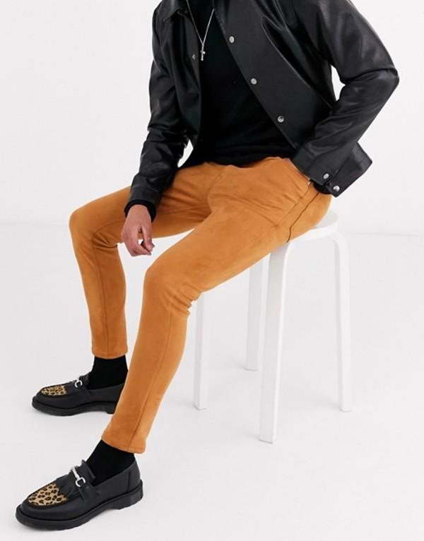 エイソス メンズ デニムパンツ ボトムス ASOS DESIGN faux suede skinny jeans in tan Tan