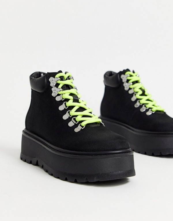 スティーブ マデン レディース ブーツ・レインブーツ シューズ Steve Madden Stomp flatform hiker boots in black and neon Black