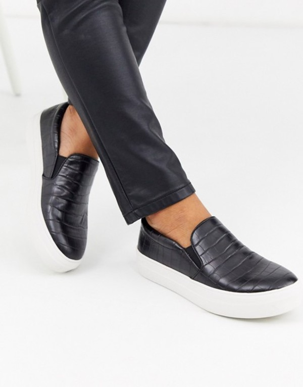 スティーブ マデン レディース スニーカー シューズ Steve Madden Gills slip on sneakers in black croc print Black croco