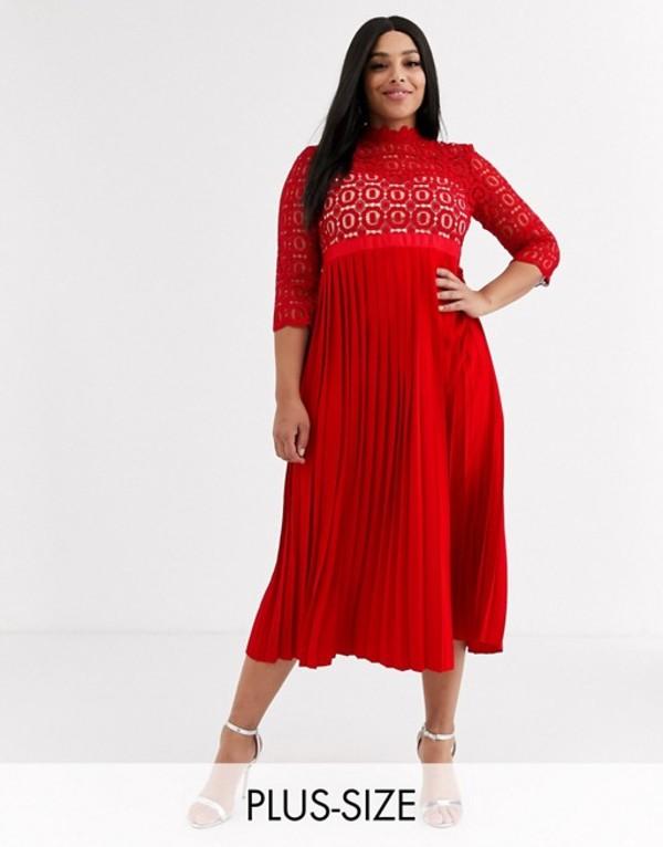 リトルミストレス レディース ワンピース トップス Little Mistress Plus midi length 3/4 sleeve lace dress in pillar box red Red