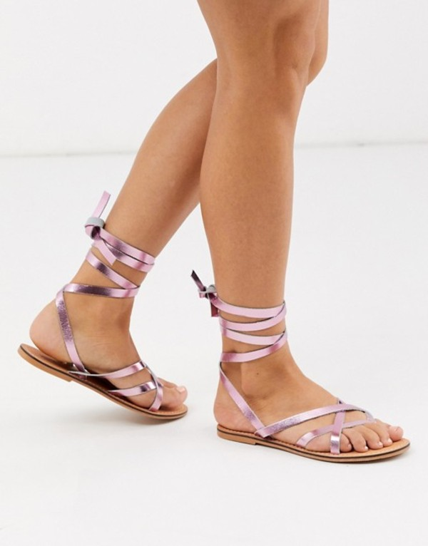 エイソス レディース サンダル シューズ ASOS DESIGN Framed strappy leather sandal in metallic pink Pink metallic