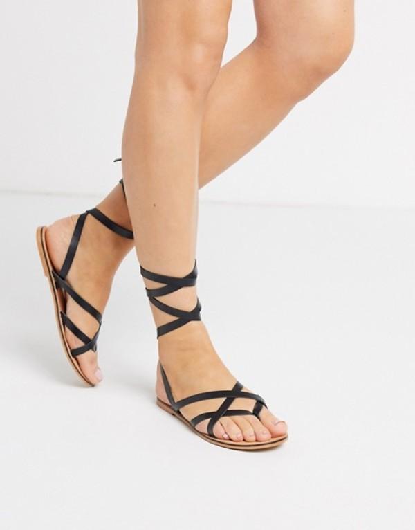 エイソス レディース サンダル シューズ ASOS DESIGN Framed strappy leather sandal in black Black