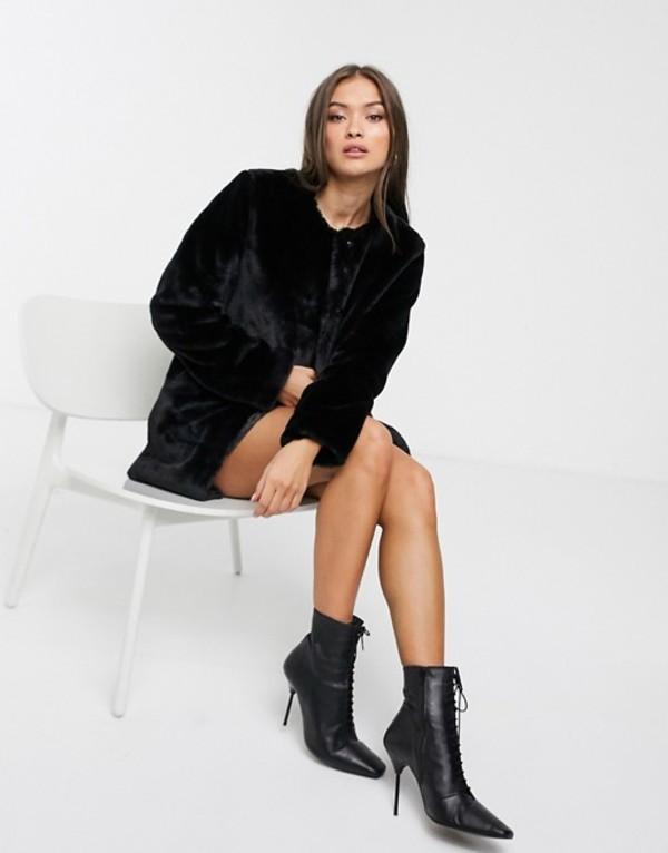 ストラディバリウス レディース コート アウター Stradivarius faux fur coat in black Black