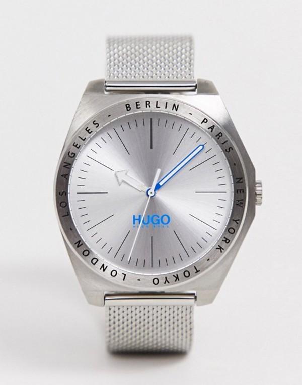 フューゴ メンズ 腕時計 アクセサリー HUGO 1530107 Act mesh watch in silver 44mm Silver