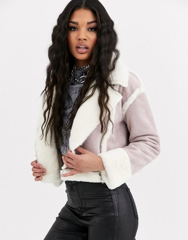 ミスガイデッド レディース ジャケット・ブルゾン アウター Missguided cropped jacket with borg trims in lilac faux suede Lilac