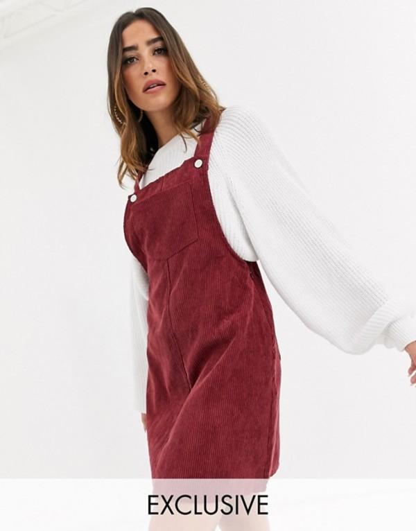ミスガイデッド レディース ワンピース トップス Missguided Exclusive overall dress in burgundy Burgundy