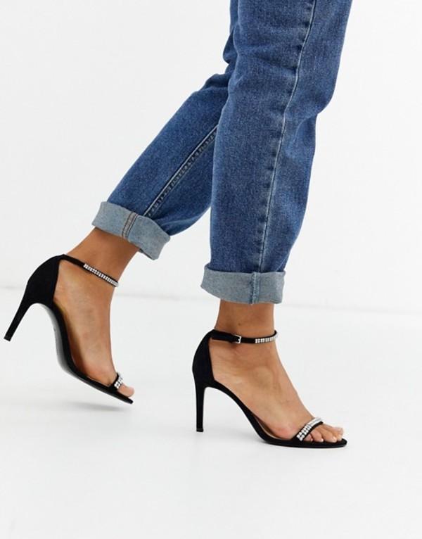 ストラディバリウス レディース サンダル シューズ Stradivarius embellished skinny heeled sandals in black Black