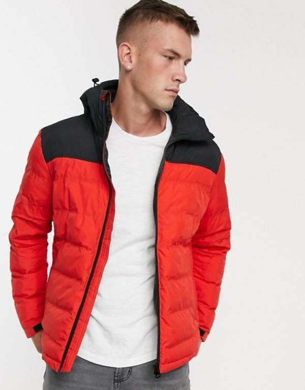 ファットムース メンズ ジャケット・ブルゾン アウター Fat Moose color block padded jacket Red
