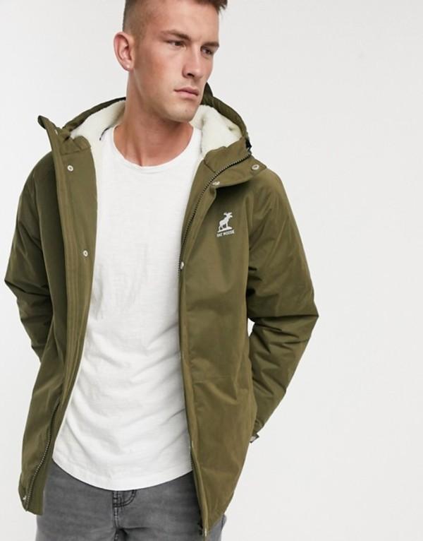ファットムース メンズ ジャケット・ブルゾン アウター Fat Moose sherpa lined hooded parka Green
