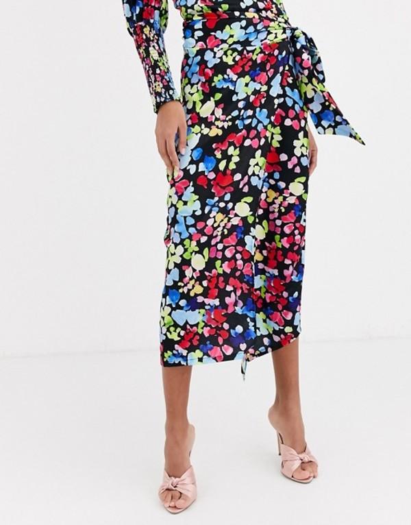 ネバーフリードレスド レディース スカート ボトムス Never Fully Dressed wrap satin midi skirt in neon floral print Multi