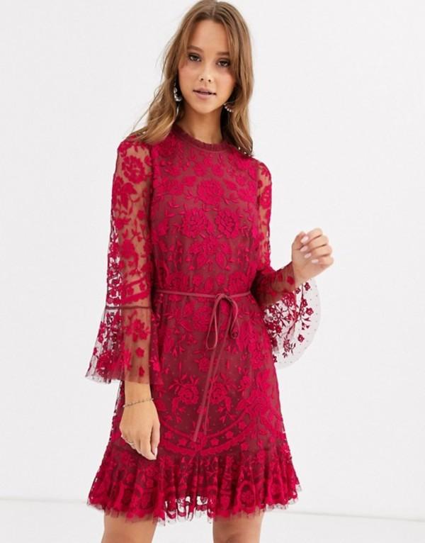 ニードルアンドスレッド レディース ワンピース トップス Needle & Thread embroidered flippy hem mini dress with fluted sleeves in red Red