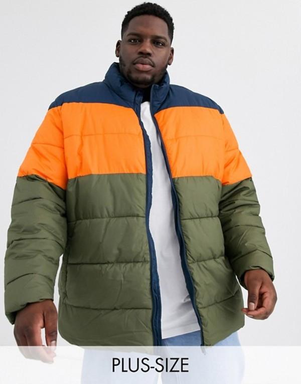 ジャカモ メンズ ジャケット・ブルゾン アウター Jacamo puffer jacket with orange color block in gray Multi
