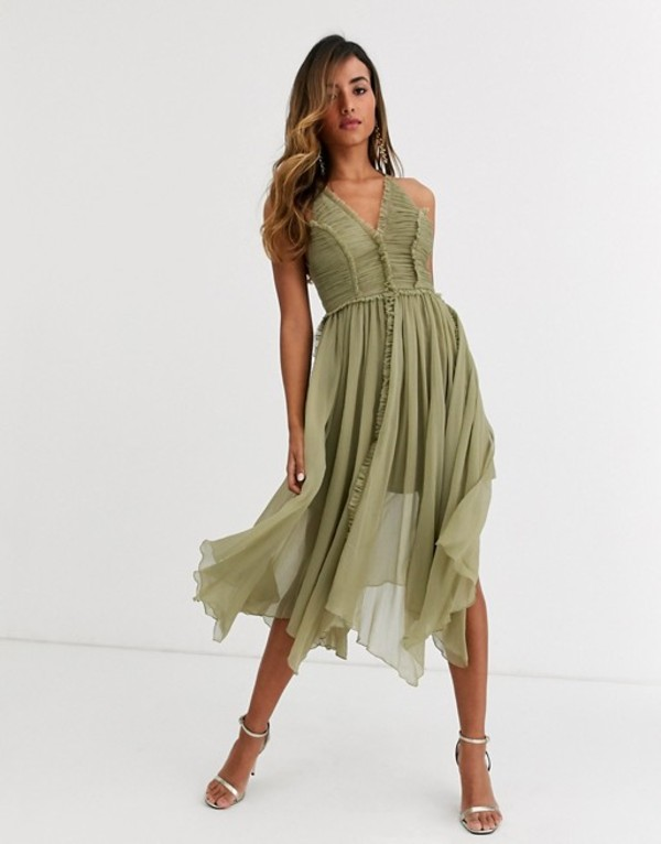 エイソス レディース ワンピース トップス ASOS DESIGN ruched bodice soft cami midi dress with raw edge detail Soft olive