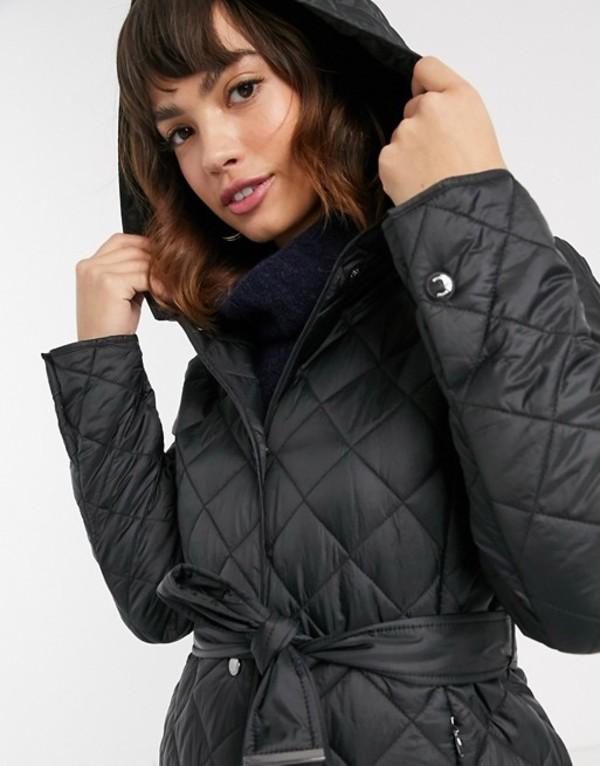 エスプリ レディース コート アウター Esprit quilted coat with hood in black Black