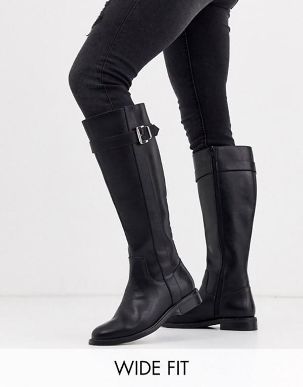 エイソス レディース ブーツ・レインブーツ シューズ ASOS DESIGN Wide Fit Constance flat riding boots in black Black