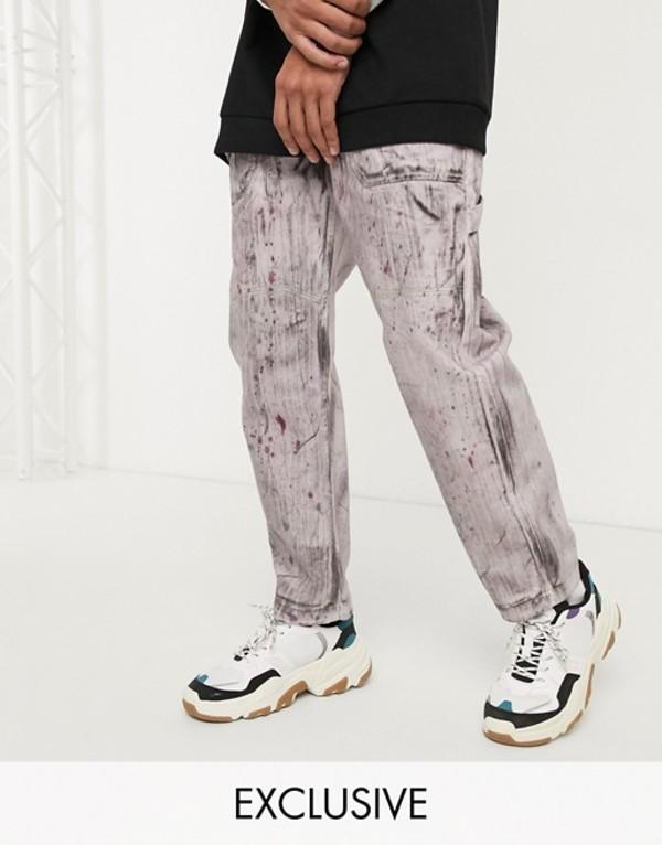 リクレイム ヴィンテージ メンズ デニムパンツ ボトムス Reclaimed Vintage skater fit jeans with hand drawn print and wash Purple