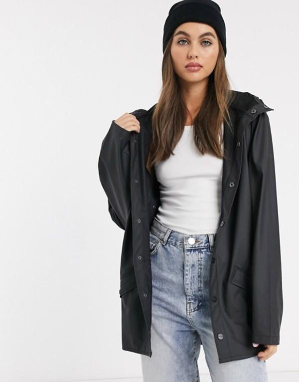 レインズ レディース ジャケット・ブルゾン アウター Rains short waterproof jacket Black