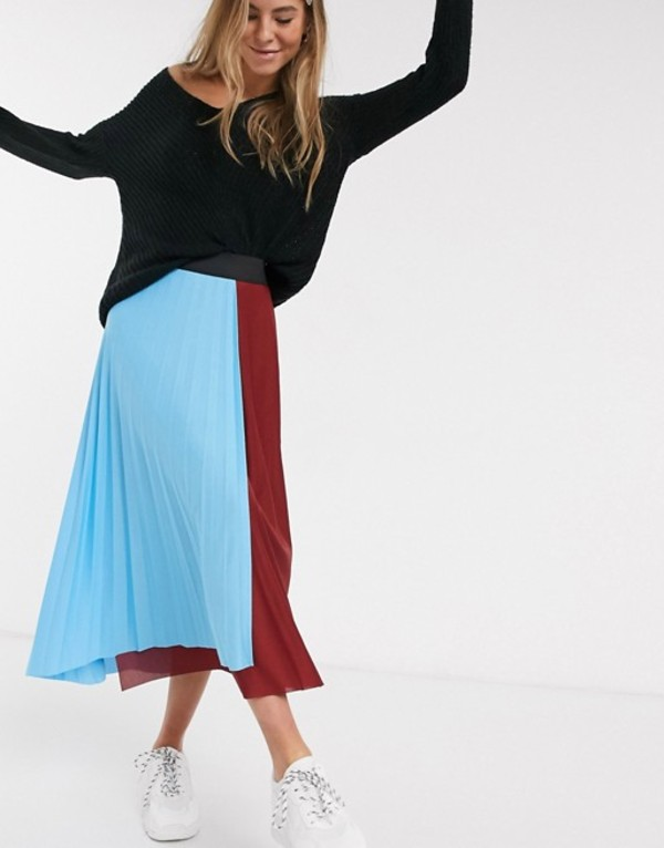 エイソス レディース スカート ボトムス ASOS DESIGN color block pleated wrap midi skirt Multi