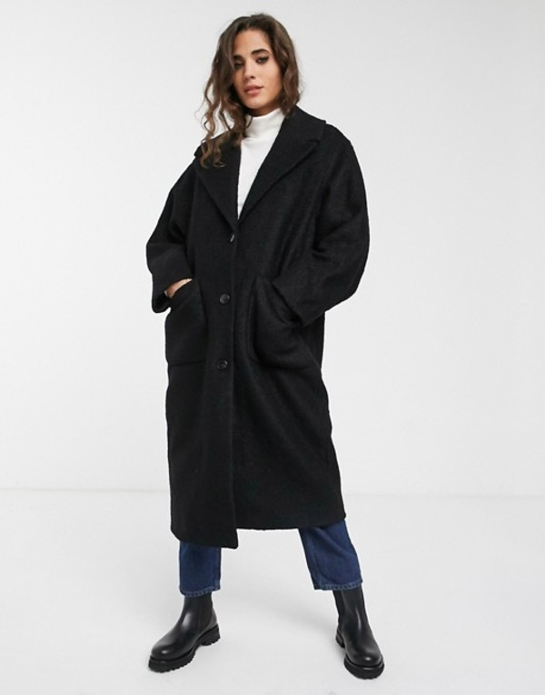 ウィークデイ レディース コート アウター Weekday Jennie coat in black Black
