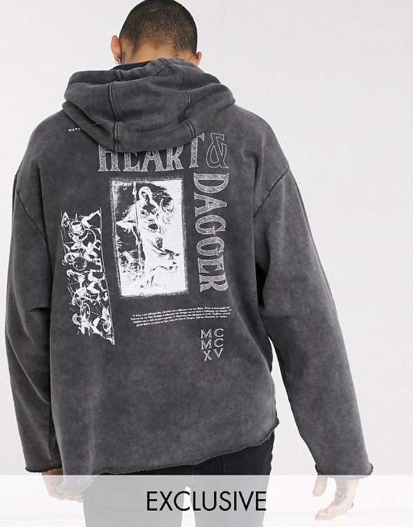ハートアンドダガー メンズ パーカー・スウェット アウター Heart & Dagger acid wash hoodie with print Charcoal