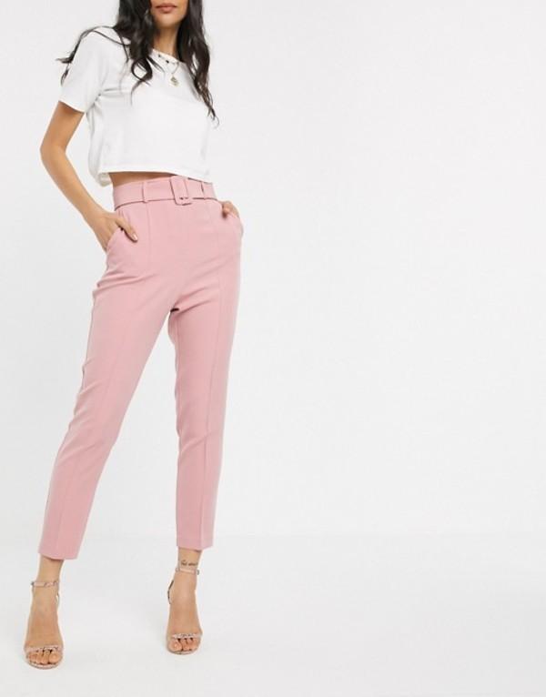 エイソス レディース カジュアルパンツ ボトムス ASOS DESIGN high waist cigarette pants with belt Blush