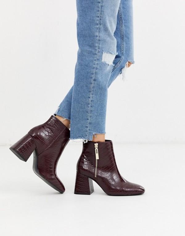 ストラディバリウス レディース ブーツ・レインブーツ シューズ Stradivarius zip side heeled boots in burgundy Burgundy
