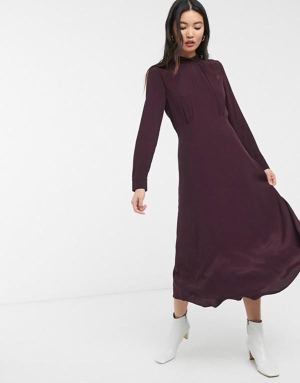 ホイッスルズ レディース ワンピース トップス Whistles ruby long sleeve midi dress Burgundy