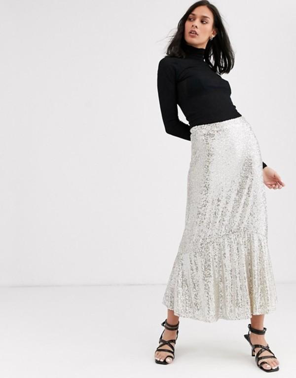 ホイッスルズ レディース スカート ボトムス Whistles sequin midi skirt Silver