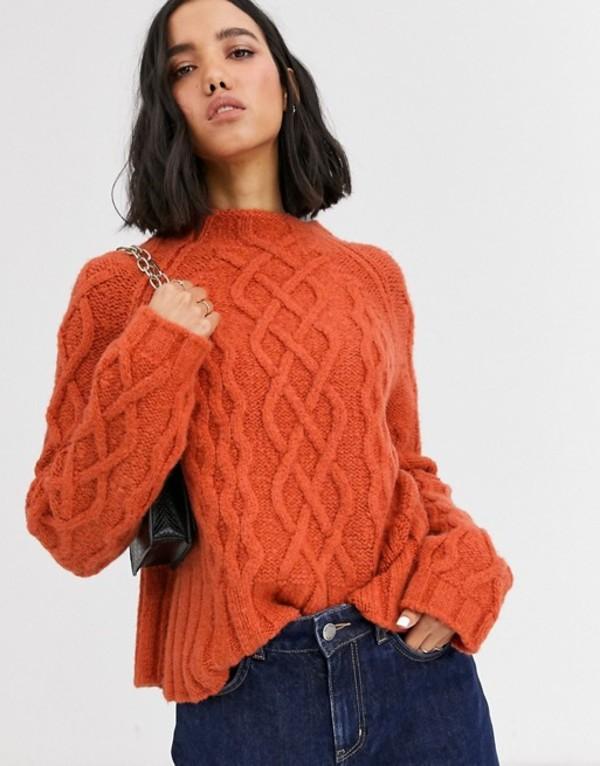 ホイッスルズ レディース ニット・セーター アウター Whistles modern cable knit sweater Orange