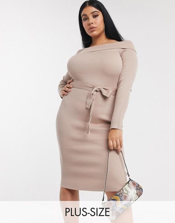 ミスガイデッド レディース ワンピース トップス Missguided Plus bardot knitted midi dress in beige Beige