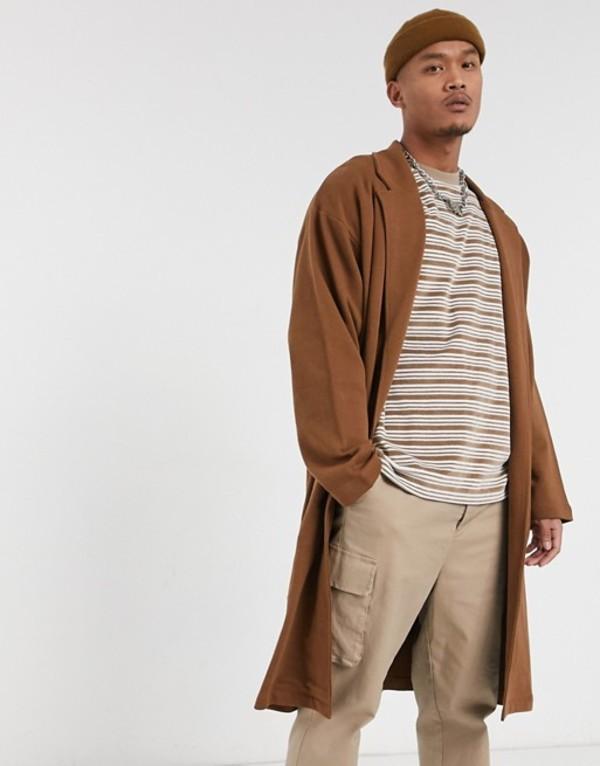 エイソス メンズ ジャケット・ブルゾン アウター ASOS DESIGN oversized jersey duster jacket in brown Daschund