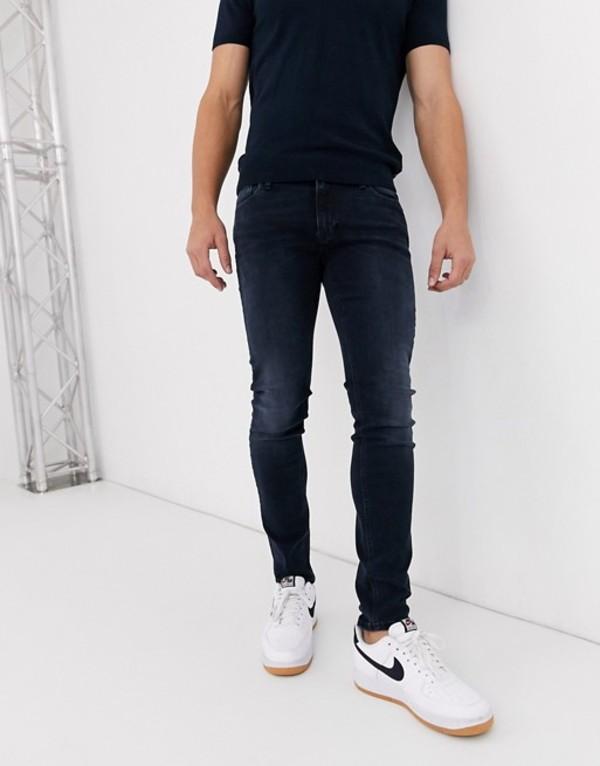 ジャック アンド ジョーンズ メンズ デニムパンツ ボトムス Jack & Jones Intelligence skinny fit stretch jeans in blue black Blue denim