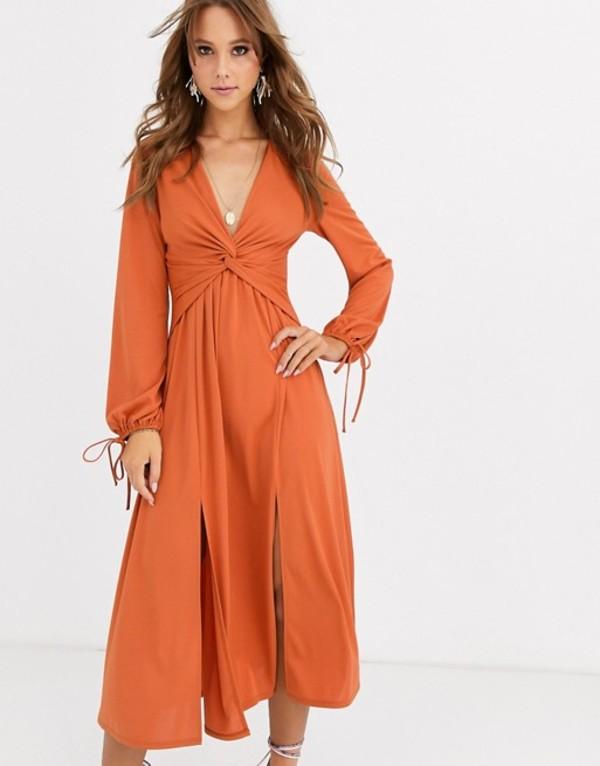 エイソス レディース ワンピース トップス ASOS DESIGN Long sleeve twist front midi dress Rust