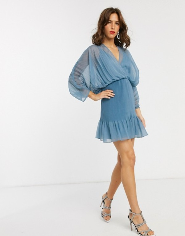 エイソス レディース ワンピース トップス ASOS DESIGN mixed pleat dome sleeve mini dress Dusty blue