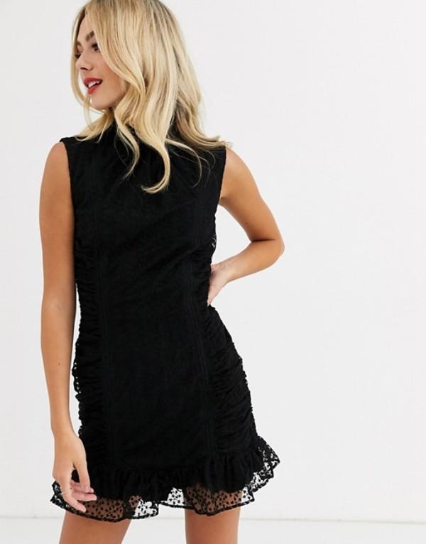 スティービーメイ レディース ワンピース トップス Stevie May odette bodycon ruched mini dress Black