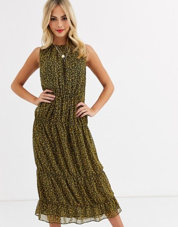 スティービーメイ レディース ワンピース トップス Stevie May saige ditsy print midi dress Black/yellow