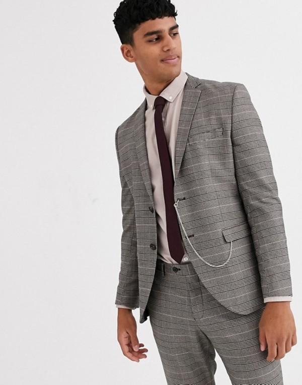 ジャック アンド ジョーンズ メンズ ジャケット・ブルゾン アウター Jack & Jones Premium slim fit prince of wales check pocket chain suit jacket in brown Brown stone