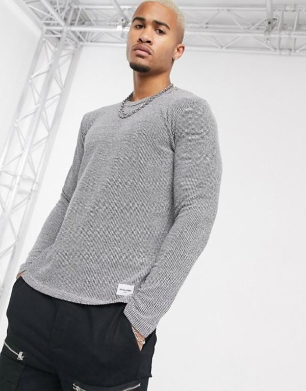ジャック アンド ジョーンズ メンズ ニット・セーター アウター Jack & Jones Core textured crew neck knitted sweater in gray Dark grey melange