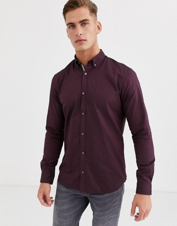 ジャック アンド ジョーンズ メンズ シャツ トップス Jack & Jones Premium slim fit herringbone button down shirt in burgundy Port royale