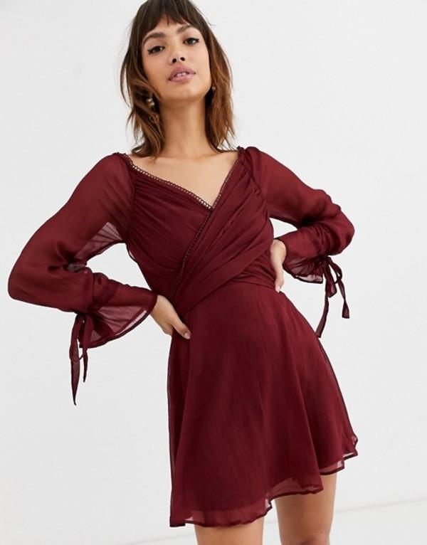 エイソス レディース ワンピース トップス ASOS DESIGN mini dress with layered skirt and wrap waist with lace trim detail Wine