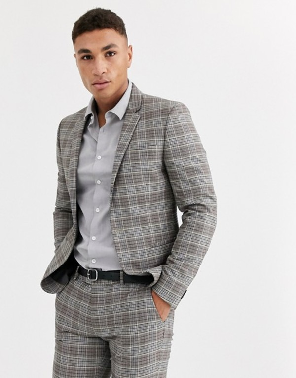リバーアイランド メンズ ジャケット・ブルゾン アウター River Island ultra skinny suit jacket in brown check Brown