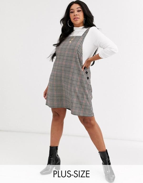 ニュールック レディース ワンピース トップス New Look Curve pinny dress in houndstooth check Cream