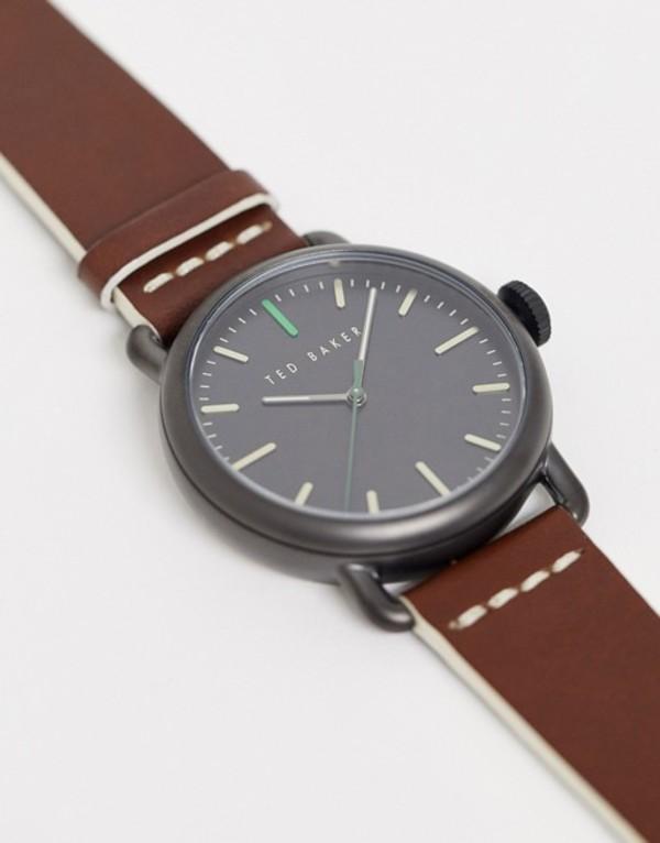 テッドベーカー メンズ 腕時計 アクセサリー Ted Baker Tomcoll leather watch in brown 40mm Brown